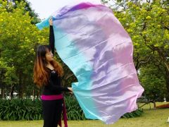 pale (turquoise-purple-pink) 5 Mommes pastel belly dance silk veil