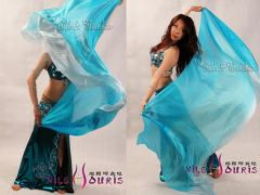 1 piece turquoise shading 5 Mommes belly dance silk veil