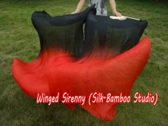 1 pair 2m black-red belly dance silk fan veils