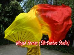 "1 Piece right hand 1.8m (71"") Fire belly dance silk fan veil"