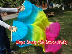"""1 pair 1.5m (59"""") turquoise-yellow-pink belly dance silk fan veil"""
