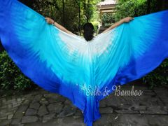 1 pair white-turquoise-blue 8 Mommes habotai belly dance silk wing