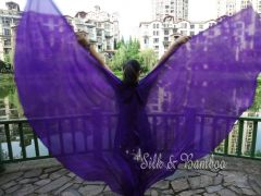 1 pair purple 6 Mommes habotai belly dance silk wing