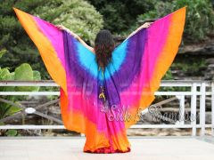 1 pair turquoise-purple-pink-orange 8 Mommes habotai belly dance silk wing
